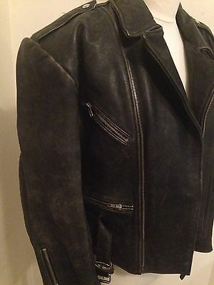 """Mens Beautiful Retro Style Real Leather Biker Jacket Size M Chest 40""""."""