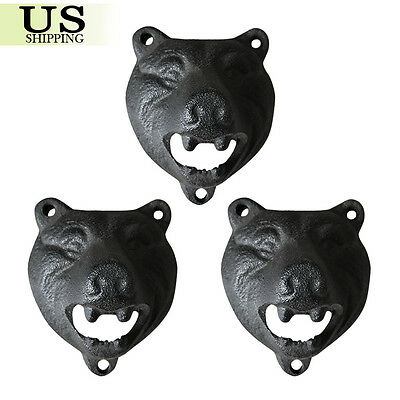 3pcs/ Pack Cast Iron Wall Mount Grizzly Bear Teeth Bite Bottle Opener (Black)
