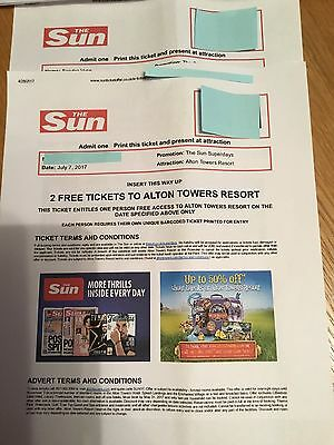 Alton Towers Tickets X2 - 7th July 2017