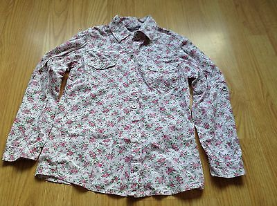 girls pretty pink floral blouse age 7-8yrs