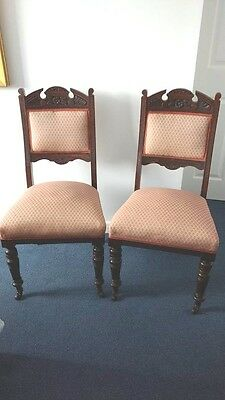 Pair of Antique Edwardian Oak Dining Chairs.