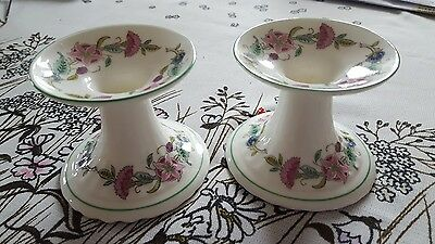 Minton Haddon Hall Green Rim pair of candle stick holders