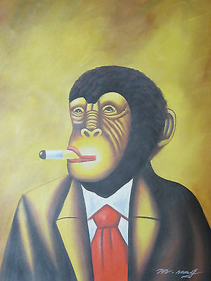 abstract monkey smoking cigar large oil painting contemporary modern original