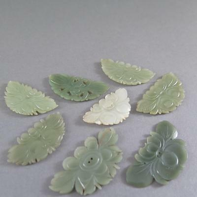 8-Pc Amazing Group  Of Antique Chinese Jade Lotus Plaque Buttons