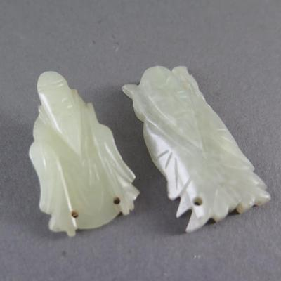 Fine Antique Chinese Pale Jade Carvings Of Immortals
