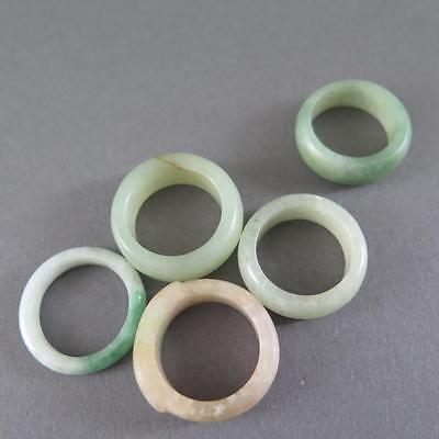 Five Fine Antique Chinese Jade Rings Wonderful Translucent Pale Green Material