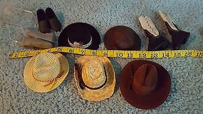 American Girl ???  Doll Hats Cowboy & Straw plus Shoes Boots 11 pc lot