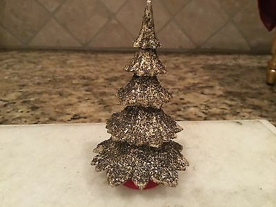 Vintage Miniature Plastic Christmas Tree Made In Western Germany Gold Glitter