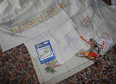 6x Vintage printed table cloths tray embroidery silks 4 unfinished projects