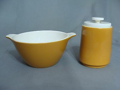 Homer Laughlin Bowl & Sugar Bowl With Lid In The Caramel Color, Made in USA.