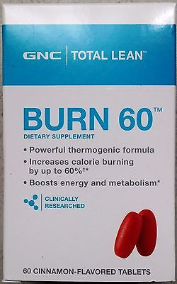 New GNC Total Lean Burn 60 - Cinnamon Flavored(60 Tablets)-Fat & Calorie Burners