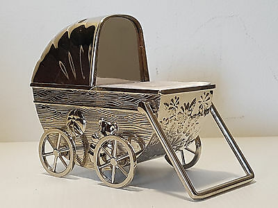 Vintage silver-plated Baby Carriage Coin Piggy Bank