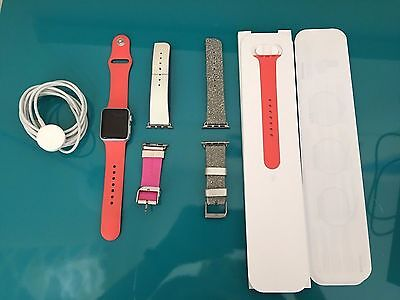 Apple Watch Series 1 38mm Aluminum Case Flamingo Sport Band w/2 additional bands