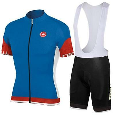 castelli Cycling Clothing Jersey & Bib Shorts Kit Sets Coolmax BLUE