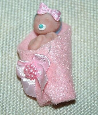 Polymer Clay OOAK Miniature Baby Girl  ,Mandy  wrapped in blanket