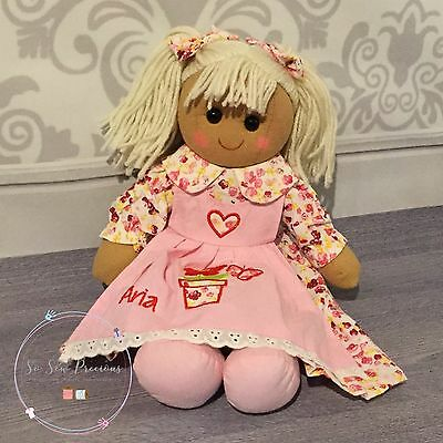 Personalised embroidered rag doll, christening gift, new baby 40cm