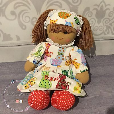 Personalised embroidered rag doll, cats, christening gift, new baby 40cm