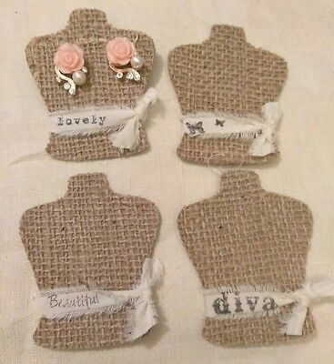 135 Small Burlap Earring cards, display cards, jewelry holders