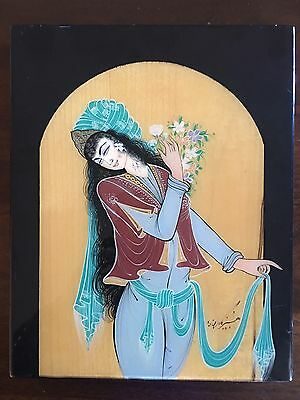 Rare Antique Laquer Persian Fine Art  Painting