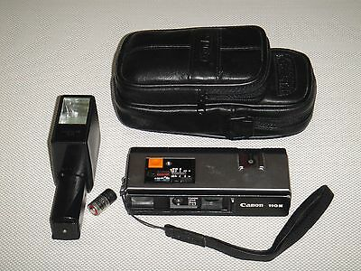 Vintage Canon 110E With Flash And Leather Case