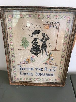 1930's Vintage FOLK ART Rain Sunshine CROSS-STITCH NEEDLEPOINT SAMPLER Deco