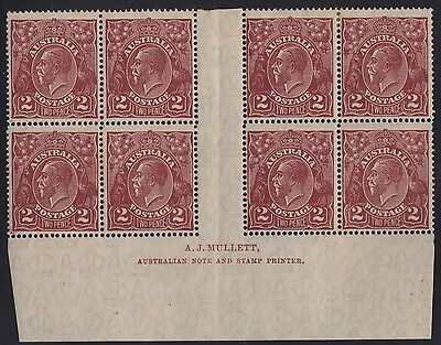 Australia KGV 2d red-brown SMW perf 14 plate 16 imprint block of 8, mh tone