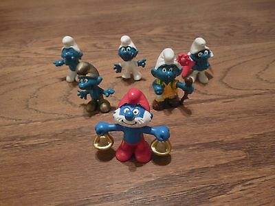 "Vintage Schleich Peyo Smurfs 2"" 6 Different"