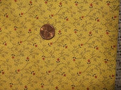 ~Back In Time Textiles~ Antique 1890 Chrome Yellow Calico fabric 58 x 7