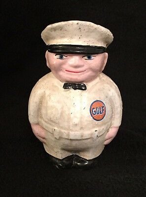 Cast Iron Gulf Oil Gas Filling Station Attendant Bank Advertising Promotion