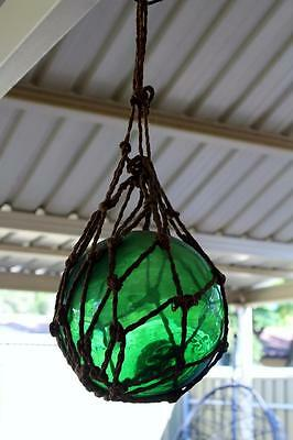 Green Glass Float / Japanese Style Glass Fishing Floats / Nautical Decor