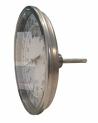 "5"" Dial x 2.5"" Stem Brewing/Distilling Thermometer with 1/2"" NPT"