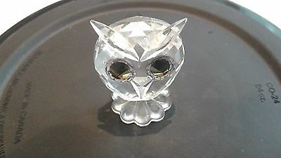Swarovski Silver Crystal Owl Frosted Face Retired Figurine *FREE SHIPPING