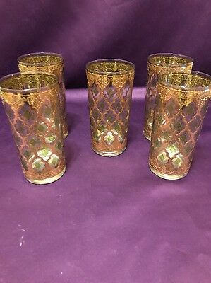 Set of 5 CULVER Valencia Mid Century Glasses 22K Gold/Green Diamonds