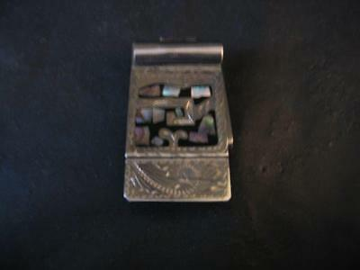 Silver Money Clip Abalone Shell Inlay Alpaca Sterling Silver Mexican Jewelry