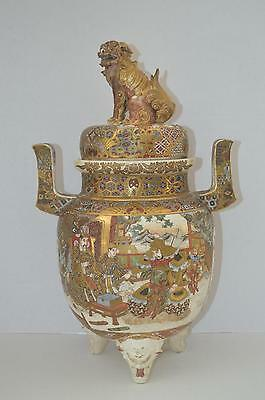CHINESE TRIPOD CENSER w Foo Dog Cover ~ Antique Pottery