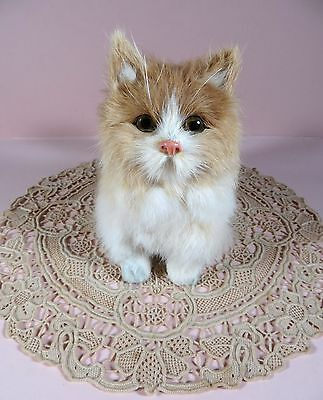 """Sweet real rabbit fur beige & white 5"""" tall kitty cat figurine made in China!"""