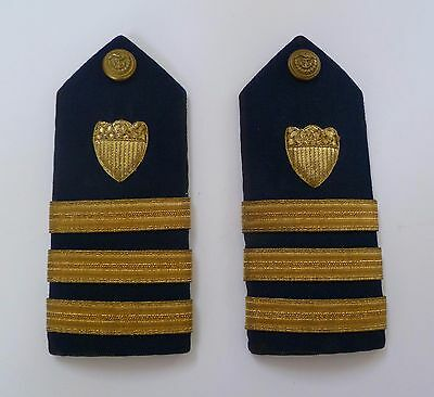 Military Shoulder Boards U.S. Coast Guard Blue Gold Vintage Antique Collectible