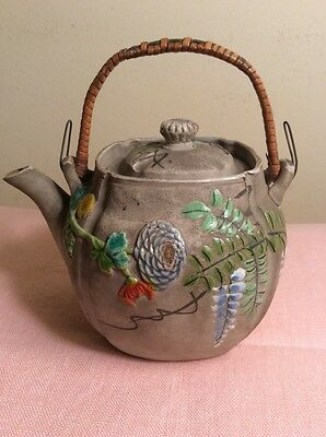 Antique Banko TEAPOT Japanese Pottery Meiji Era Enamel Flowers Marked