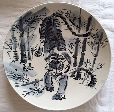 Rare Hand-painted Tiger Plate from Japan - UNIQUE, One of a kind!!!