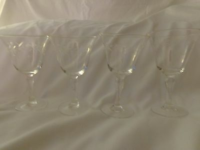 """4 Vintage Etched Glass Cordial Stemware Glasses Approx 2.75"""" diam 4.25"""" tall"""