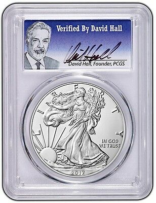 2017 W Burnished Silver Eagle PCGS SP70 First Strike - David Hall Signed Label