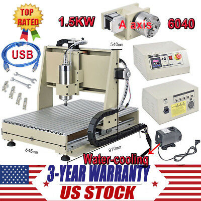 USB CNC 6040 Router 4 Axis Engraver 1.5KW 3D Engraving Drilling Milling Machine