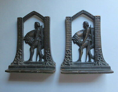 Antique Cast Iron Sir Galahad Bookends Posed Horse & Sword