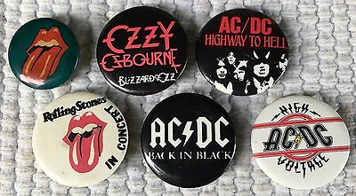Vintage Lot Of 6 Hard Rock Band Pinbacks-Ac/dc, Ozzy Ozborne &the Rolling Stones