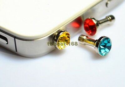 5 x 3.5mm Crystal Anti Dust Earphone Jack Plug Cover Stopper Cap for Cell Phone