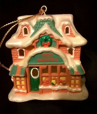 Avon Snow Frost Victorian Village Toy Shoppe light cover ornament with box
