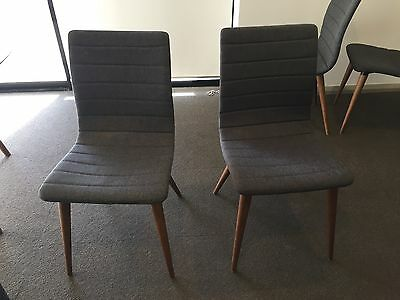 Marli Dining Chairs Charcoal fabric timber legs x 4