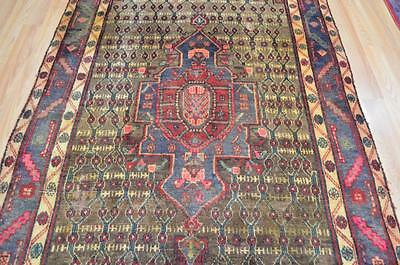 4'6x8'10 Rare 1920s Authentic Antique Persian Bijar Tribal Hand Knotted Wool Rug