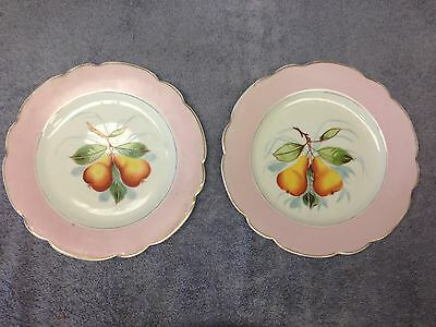 "(2) Two Porcelain8 3/4"" Plates Hand Painted Pears by B S M Cezchloslovakia"