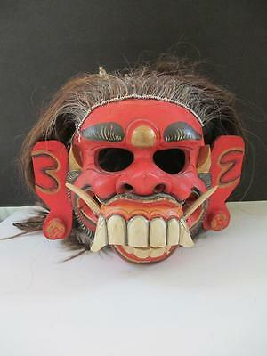Antique Balinese Topeng Mask  Carved Wooden Mask Carved Demon Face Animal Hair